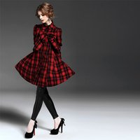 best outerwear - Best Wool Coat Casual Style Stand Collar Womens Outerwear Plaid Sleeve Winter Long Coats Bow Decoration