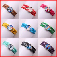 Wholesale Frozen Love Infinity Bracelets Anna Elsa Princess Leather weave Time gem Charm Bracelet Vintage Fashion Jewelry