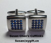 Wholesale New Coming Blue Crystal High Quality Cufflink
