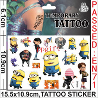 Wholesale New arrival Despicable Me temporary tattoo sticker cartoon stickers kids DIY sticker body finger decoration FreeShipping