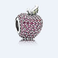 pandora jewelry - 2015 authentic sterling silver Red Pavé Apple charms beads fit European charm Bracelets for pandora style jewelry No80 LW526