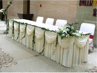 Wholesale White luxury Table Skirt With Swag for Wedding Table Skirting with Velcro ft Wedding Party Decoration