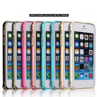 aluminun case - For Iphone s Aluminun Metal Bumper With Hippocampus Buckle Anti Knock Multi Color mm Arc Slim Frame For Iphone5 Iphone5s