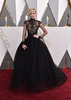 Wholesale 2016 Celebrity Dresses th Academy Awards Oscars Black Long Sleeves High Collar Lace Top Zip Back Ball Gown Floor Length Dorith Mous Formal
