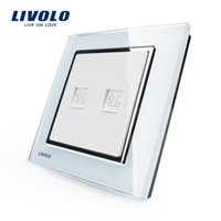 Wholesale New Wal outlet power switch crystal glass panel two computer dual network cable jack wall outlet