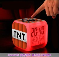 Wholesale LED Creeper Alarm Clock Minecraft Clock TNT Lawn Clock Kids Gifts Christmas Gifts LED Colorful Clock Digital Alarm Clock LED Night Light