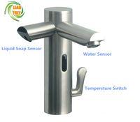 Grifo sensor de grifo sin contacto automático con dispensador de jabón en espuma Sensor dispensador de grifo para el lavabo jabón cuenca mixe fregadero golpecito del grifo