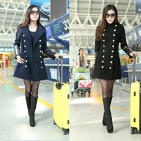 leather trench coat - Autumn designer Double Breasted woolen coat Stand Collar PU Leather Patchwork wool Trench for women Long overcoat casaco G0695