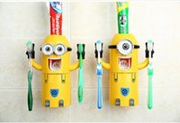 Wholesale 10 sets In Stock Cute Despicable Me Minions Design Set Cartoon Toothbrush Holder Automatic Toothpaste Dispenser with Brush Cup