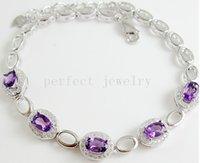 Wholesale Amethyst chain bracelet Natural real amethyst sterling silver Perfect Jewelry Gemstone bracelet Purple gems DH