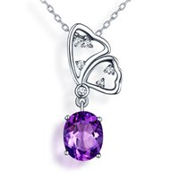 amethyst butterfly necklace - The beauty Natural Amethyst Pendant sterling silver Europe and America popular small animal butterfly pendant Necklaces