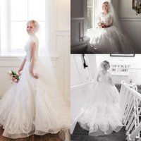 Wholesale 2016 New Spring Modest Tiered Skirts A Line Wedding Dresses Jewel Neckline Short Cap Sleeves Bridal Gown Embroidery Sequins Beading Dress