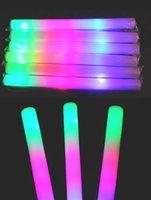 Mousse de couleur multi matériau changeant led glow stick noël Concert électronique multicolore éponge stick stick flash