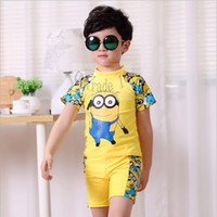 Cheap 10 TOPB4760 2 colors kids cartoon minions Swimwear Bathing Suit boy despicable me boxer Swimsuit Summer Clothing printed spring swim trunks