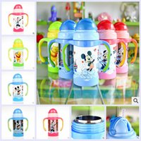 sippy cups - 5 colors pooh cartoon mickey minnie Vacuum sippy cups handle kettle young boys girls baby drink cup christmas birthday gift topB1138