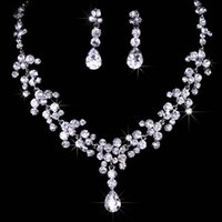 Wholesale Fast Shipping Wedding Jewelry Sets Cheap Bridal Necklace Earrings Set Evening Prom Accessories Sparkly Diamonds Bling Drill Crystals Stock