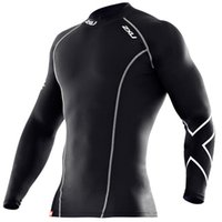 running wear - XU Compression tights male sports stretch running Workout Training Wear long sleeved wicking