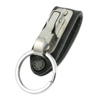 Wholesale FS Hot Stainless Steel Keyring Design Faux Leather Belt Loop Key Chain order lt no track