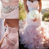 Trumpet/Mermaid belted sweetheart dress - 2015 Sweetheart Beads Crystal Blush Pink Belt Organza Lace Up Backless Mermaid Wedding Dresses Floor Length Vintage bridal gowns