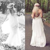 Cheap Romantic White 2015 Boho Cheap Spaghetti Lace Wedding Dresses Bohemian Vintage Beach Sexy Long Party Bridal Gowns Dress Simple Chiffon