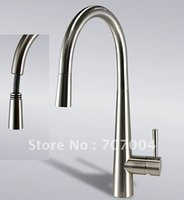 brushed nickel - BRUSHED NICKEL RATILE PACKING Swivel pull out nozzle single lever Kitchen Faucet