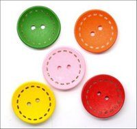 Wholesale 100pcs Bag Mixed Round Holes Wood Sewing Buttons Scrapbooking mm Colors