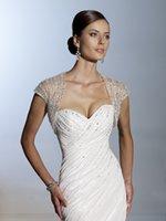 Wholesale In stock see through white ivory Rhinestones wedding jacket wraps cap sleeves crystals bolero lace coats bridal accessories