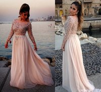 apple neck strap - 2016 Luxury Style Long Illusion Sleeve Plus Size Prom Dresses Scoop Neck Crystals Beads Sequins Floor Length Party Gowns Custom Made P97