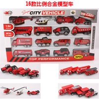 Cheap Slide16 Model Alloy Fire Engines Truck Toy Car Children Educational Toys Simulation Model Gift For baby Boys christmas Exchange gifts