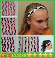 basketball headbands - 2015 Christmas sales NEW Grey black white Braided Hair Band Head Basketball Softball Headband Non Slip