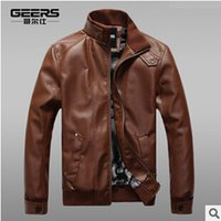 Wholesale Autumn and winter male male leather leather collar Slim plus thick velvet leather men s leather jacket