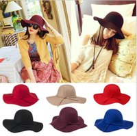Wholesale New Stylish Vintage Women s Lady with Wide Brim Wool Bowler Fedora Hat Floppy Cloche Sun Beach Bowknot Cap