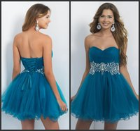 Cheap Short Homecoming Party Dresses Sweetheart Beaded Empire Crystals Sequins Formal Cocktail Sea Blue Corset Prom Dress Blush Style New 2015
