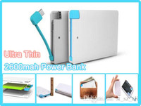 banks card - 2600mah Ultra Thin Credit Card Power Bank mah USB Promotion with Built In USB Cable Backup Emergency with iphone adapter