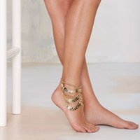 Wholesale 12pcs Vintage Leaf Pattern Anklets With Toe Rings Multilayered Tassels Footchains Sandals Barefoot Jewelry jc103