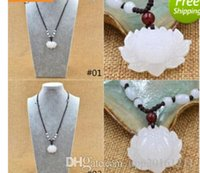hand carved jade - 888AAA New Hand Carved Natural White Jade Snow Lotus Flower Beads Pendant Chain Necklace