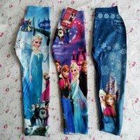 Cheap Hot Spring Summer Girls Frozen Elsa Anna Sexy Leggings Baby Jean False Pants Women Kids Cartoon Movie Tight Pants Children Clothes GZ-D01