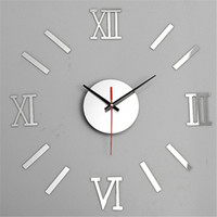 Wholesale Modern Fashion D Adhesive Roman Numerals Wall Clock Home Elegant Decal Art Black Silver Golden To Choose