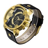 Cheap 2015 Japan double movement mens fashion watch auto date leather watch luxury watch brand mens wristwatches quartz 6818 Black Sheel