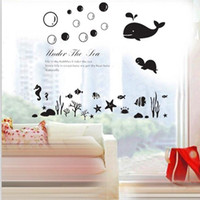 bathroom tile designs - Wall stickers home decoration Factory direct three generations of wall stickers Underwater World Ocean Whale glass tiled bathroom stickers a