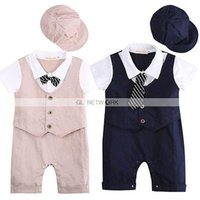 baby boy summer wedding outfit - 2015 wholesal Cute Baby Toddler Boys Wedding Tuxedo Suits Romper Jumpsuit Hat Outfit sets