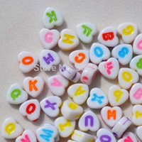 Wholesale Free shpping MM acrylic heart shape Mixed Color Alphabet Letter beads Fit Bracelet Necklace DIY