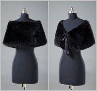 Wholesale New Black Faux Fur Bridal Wraps Shurg Cape Wrap Wedding Accessories WJ