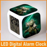 Wholesale 61 Styles D Cartoon Star Wars Square Digital Alarm Clock Led Colorful Change Darth Vader Clock Christmas Decoration Gift Clock DHL OM CB4