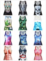 Cheap 27 Styles European Digital Printing Flower Human Skeleton Women's Vest Sleeveless Tank Tees Fashion Characters Ladies Tops Clothing J2967