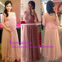 beck light - custom made see through beck long sleeves evening gowns with lace appliques for pregnant formal dresses prom party a line