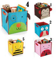 Wholesale Baby Kids Toys ZOO Storage Bin Folding Book Cloth Shoes Sturdy Canvas Cute Owl Boxes HL