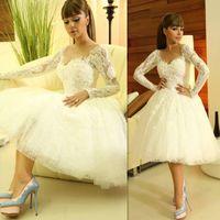 diva - Diva Myriam Fares Designer Rami Kadi Beautiful Long Sleeves Lace Knee Length Short Bridal Wedding Dress Prom Dresses