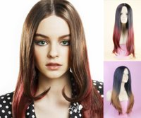 Wholesale best selling cheap long synthetic hair wigs Kanekalon fiber ombre wigs real looking wig synthetic afro wig Celebrity hair wigs free ship