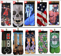 Cheap DHL Thicken 3d socks kids men women socks hip hop socks 3D ODD socks cotton skateboard socks printed gun emoji tiger skull socks